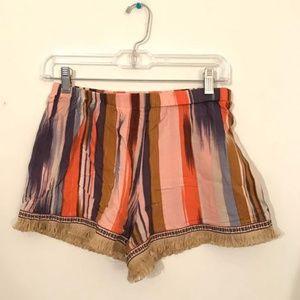 BAND of GYPSIES Boho Striped Fringe Shorts